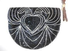 Black Evening Bag, Beaded Handbag, Black Silver Beading, Black Bead Clutch, Formal Purse, Sparkly Evening Purse, Clutch Handbag  EB-0036