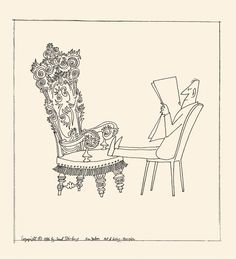 Line drawing by Saul Steinberg of a man propping his feet on a fancy chair.
