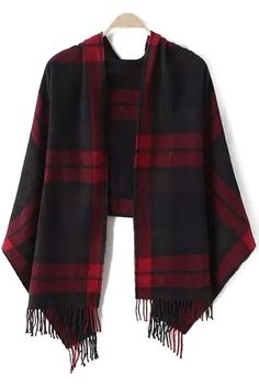 Dark Color Plaid Tassel Pashmina