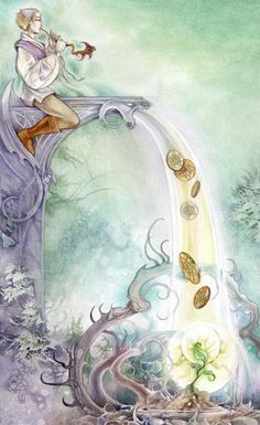 Six of Pentacles, Shadowscapes Tarot: The extremes of those that have and those that have not; giving and receiving.