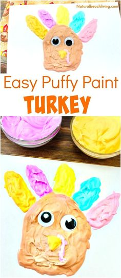 Easy Thanksgiving Crafts Kids Love to Make - Homemade Puffy Paint Turkey - Natural Beach Living