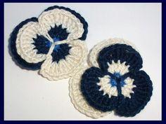 Crochet applique, 2 crochet pansies, cards, scrapbooks, appliques and embellishments