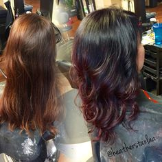 Violet black to red violet burgundy balayage ombre