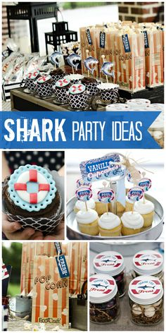 A pool party for a boy birthday that has a preppy, retro clubhouse feel and lots of sharks!  See more party ideas at CatchMyParty.com!