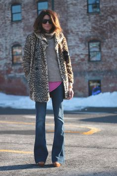 leopard coat / flared jeans