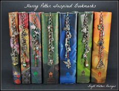 Harry Potter Inspired Bookmarks Full Set - 7 bookmarks, 39 charms, hand beading and wiring by NightWalkerDesigns on Etsy https://www.etsy.com/listing/229752264/harry-potter-inspired-bookmarks-full-set