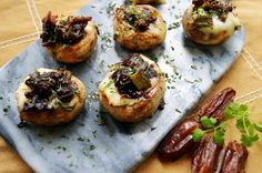 Brie & Date Stuffed Mushrooms ~ The Starving Chef
