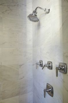 Tracery Interiors - bathrooms - marble shower surround, polished nickel shower kit,  Marble tile shower surround and polished nickel shower kit.