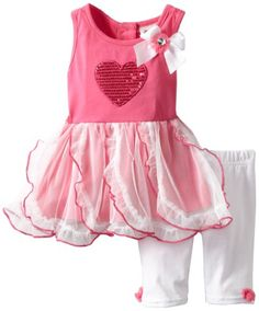 Baby girl clothes Lass Baby-Girls Infant 2 Piece Dress Set with Heart 5ea550f39