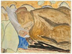 Sleeping, 1917, Erich Heckel. Germany (1883 - 1970) - Watercolor and Distempers over Pencil on Paper -