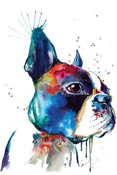 Colorful Boston Terrier Art Print - Print of my Original Watercolor Painting Boston Terrier Kunst, Boston Terrier Love, Boston Terriers, English Terrier, Terrier Puppies, Yorkshire Terrier, Dog Art, Watercolor Paintings, Canvas Art