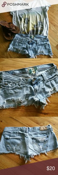 Super distressed shorty shorts. Excellent condition, distressed to the max! Light wash 100% cotton.   Waist measures approximately 15 inches  Inseam measures approximately 26inches Hollister Shorts Jean Shorts