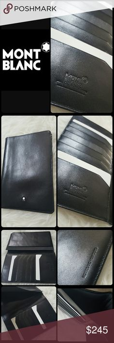 Mont Blanc Wallet Mont Blanc Designer Unisex Wallet from Meisterstuck Collection-The Art of Writing! Crafted in Black European Full Grain Cowhide with Shiny Finish! Opens to Single Checkbook Sleeve with Multiple Card Slots Storage and Additional Bill Compartment on Side Panel!   Mont Blanc Embossed Logo - Mont Blanc Hamburg! Approx Size 6.5x4.5 inches, Like New Never Used Condition! Montblanc Bags Wallets
