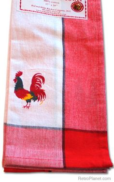 Classic Rooster Red Kitchen Towel