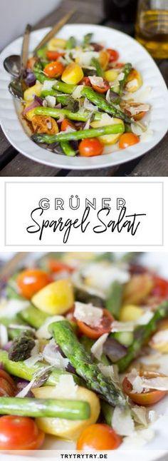 Gebratener grüner Spargel mit Kirschtomaten und Kartoffeln #spargel #grünerspargel #frühling #frühlingsalat #salat #leichtersalat #spargelsalat