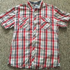 Men's Button down shirt Plaid shirt. Missing button in the middle. Can be worn with a white t-shirt underneath. Tops Button Down Shirts