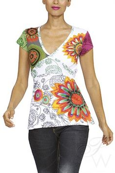 Flattering flared tunic with patchworks of color by Desigual. Available at www.FlairWalk.com.