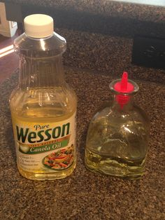 I re-purposed a tequila bottle. for my cooking oils. Can use any glass bottle type as well. Patron bottle has a bigger mouth, so you will need a fatter spout, hence the plastic one. Or, you can just keep it closed with the cork.