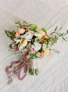 Bouquet of hellebore, ranunculus, roses, snapdragons, and hydrangea all tied up with beautiful ribbon. Ribbon Bouquet, Bouquet Wrap, Bride Bouquets, Bridesmaid Bouquet, Flower Bouquets, Bouquet Wedding, Spring Wedding, Wedding Day, Wedding Things