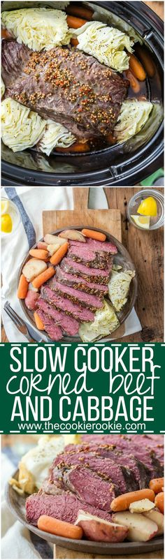 Traditional Slow Cooker Corned Beef and Cabbage, and MUST MAKE for St. Patrick's Day! Such an fun and easy recipe to celebrate St. Patricks Day! Corned Beef, Cabbage, Potatoes, and Carrots!: