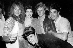 Beastie Boys, David Lee Roth, and Sean Penn -backtsage at a madonna show 1985