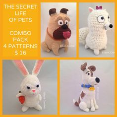 The Secret Life of Pets Crochet Patterns Combo Pack - Max/Snowball/Mel/Gidget - pdf only