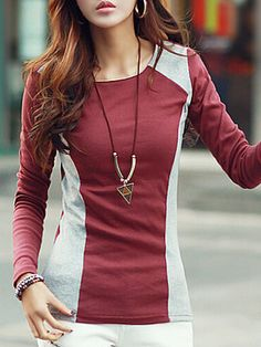 Autumn Spring Summer Cotton Women Round Neck Color Block Plain Long Sleeve Long Sleeve T-Shirts trendy fashion style women's clothing. Affordable prices on new tops, dresses, outerwear and more. Cheap Womens Tops, Casual Tops For Women, Trendy Tops, Lace Peplum, Blouse And Skirt, T Shirts, Long Sleeve Tops, Clothes For Women, Sleeves