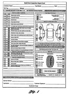 Multi Point Inspection Report Card As Recommended By Ford Motor Company 6 Checklist Template