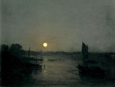 Moonlight, a Study at Millbank 1797 J. M. W. Turner, oil on mahogany panel