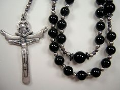 "Mens Rosary XLg Catholic Black Agate 25+"" Holy Trinity Masculino Collar Rosario"