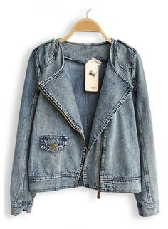Blue Long Sleeve Zipper Pocket Denim Coat