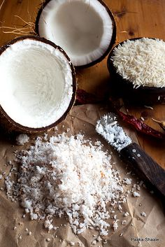 Shredded coconut with rice