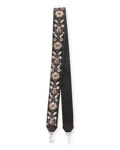 Rebecca Minkoff Metallic Floral-Embroidered Guitar Strap for Handbag…
