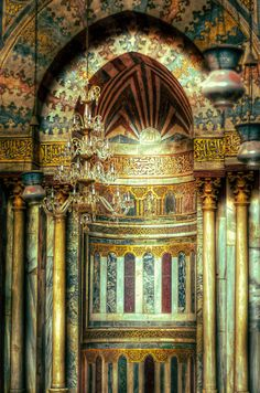 Tours in Cairo Egypt; Mihrab of Sultan Hassan Mosque in Old Cairo, Egypt. Islamic Architecture, Beautiful Architecture, Beautiful Buildings, Art And Architecture, Islamic World, Islamic Art, Monuments, Places In Egypt, Magic Places