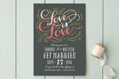Three Words Wedding Invitations by Dea and Bean at minted.com
