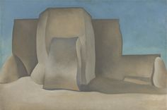 """""""Ranchos Church, No. II, NM,"""" Georgia O'Keeffe, 1929, oil on canvas, 24 1/8 x 36 1/8"""", The Phillips Collection."""