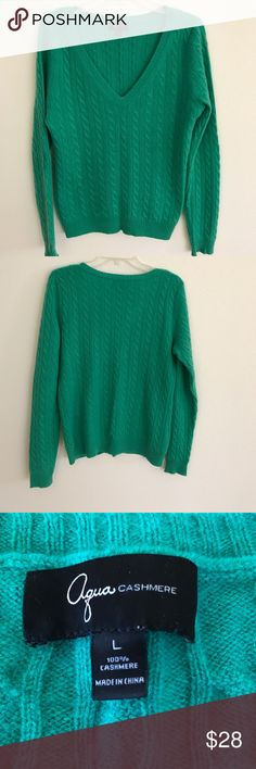 """AQUA CASHMERE Sweater in L V-neck, cable 100% cashmere. Approx length 24"""", bust 40"""", sleeve 28"""". aqua cashmere Sweaters V-Necks"""