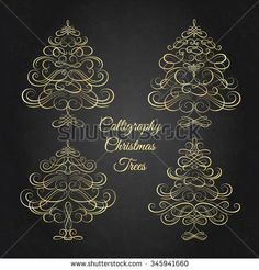 Set of Calligraphy Christmas trees. Vector illustration