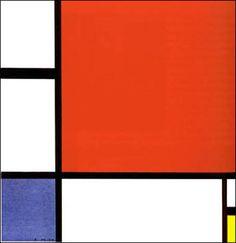 Art abstrait - Piet Mondrian - Composition rouge, bleu et jaune Piet Mondrian, Jackson Pollock, Kandinsky, Penguin Drawing, Middle School Art Projects, Harvard Art Museum, Art Lessons For Kids, Dutch Painters, Kindergarten Art