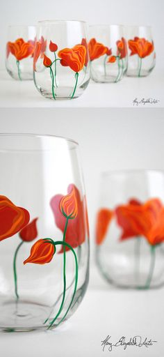 California Poppy Wine Glasses. The perfect gift for Mom. Available from MaryElizabethArts.com