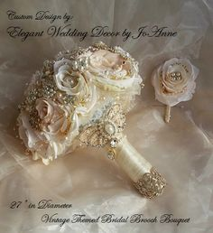 ELEGANT Gold and Rose Gold Custom BOUQUET - Deposit for this Ivory and Gold Vintage Inspired brooch Bouquet,Custom Bouquet, full price 485 by Elegantweddingdecor on Etsy https://www.etsy.com/listing/226964915/elegant-gold-and-rose-gold-custom