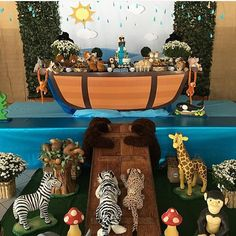 Adorei essa festa com tema Arca de Noé! Decoração muito fofa por @maradelmondes  #kikidsparty