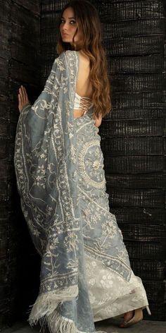 Nida Azwer, Bollywood Saree, Wedding Humor, Saree Wedding, Indian Sarees, Bridal Collection, Celebrity Style, Blue And White, Sari