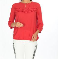 Fırsat ürünlerimiz ile devam ediyoruz. Kırmızı göğsü fırfırlı bluza sadece 20,94 TL ödeyerek sahip olabilirsiniz. 36, 38, 40 bedenleri mevcuttur. Siparişleriniz için www.anindagiyim.com/urun/turuncu-sifon-bluz adresimizi ziyaret edebilirsiniz. #kırmızı #kırmızıbluz #moda #giyim #alışveriş #kadıngiyim #stil Tunic Tops, Blouse, Long Sleeve, Sleeves, Clothes, Women, Fashion, Blouse Band, Outfit