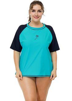 c20cffcd46d39 ICYMI  ATTRACO Women Plus Size Rash Guard Short Sleeve Rashguard UPF 50+  Swimming Shirt. Women s Swimsuits   Cover UpsSwimsuit ...