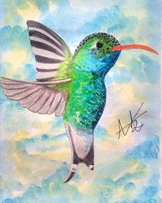 Día 6, un colibrí  Me encantó el resultado, combiné marcadores con prismacolor premier y el fondo con acuarela . . . . . . . . #dibustrando #dibujo #nature #colobri #hummingbird #artist #artista #watercolor #dibujodiario #love #amor #paceful #drawing #luky #suerte #blue #green #sky #illustration