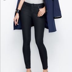 """Ann Taylor Curvy coated skinny jeans 12 Ann Taylor Curvy Coated Skinny Jeans in dark blue. Leather like appearance and super lightweight. Too big for me!! True to size 12.   Contoured waistband. 31"""" inseam. Ann Taylor Jeans Skinny"""