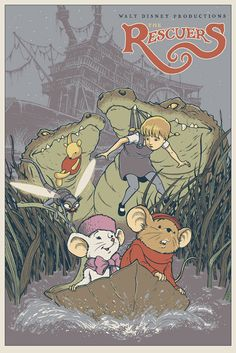 The Rescuers | 25 Beautifully Reimagined Disney Posters That Capture The Magic Of The Films