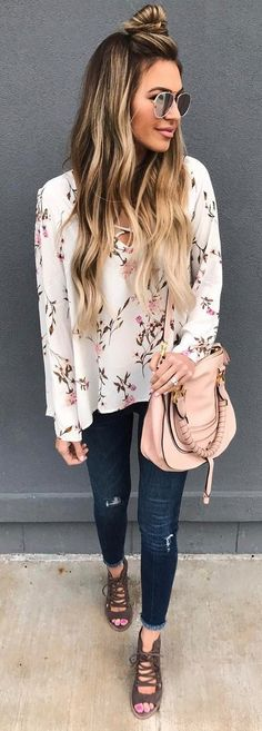 #spring #outfits White Floral Blouse + Ripped Skinny Jeans + Green Laced Up Booties.