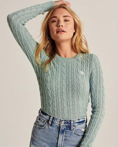 Long-sleeve lightweight sweater with crew neckline in an all-over cable knit texture. Embroidered icon at left-chest. Pullover, Crewneck Sweater, Cable Knit, Sweaters For Women, Crew Neck, Turtle Neck, Knitting, Long Sleeve, Collection